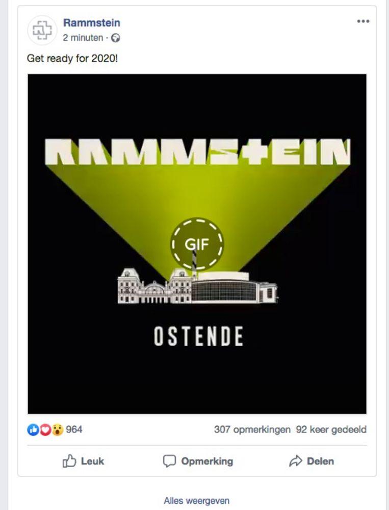 De band maakte het nieuws zelf bekend op zijn Facebookpagina. Beeld RV