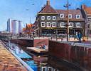 En zo is het geworden, na een uurtje of drie schilderen. De haven van Zevenbergen in olieverf.