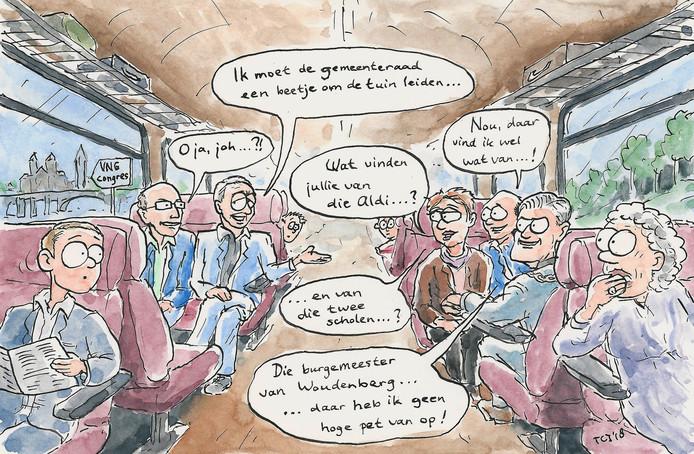 Cartoon bij het artikel over het 'roddelende' college van b&w Utrechtse Heuvelrug in de trein naar het VNG-congres in Maastricht.
