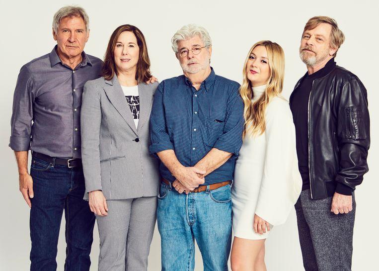 Harrison Ford, Kathleen Kennedy, George Lucas, Billie Lourd en Mark Hamill op Star Wars Celebration in Orlando. Beeld ©LucasFilm, 2017