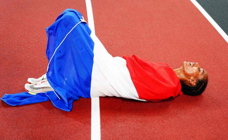 Sifan Hassan, na haar gouden race over 5000 meter. Beeld AFP
