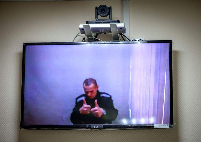 Navalny te zien via videolink tijdens een rechtbankzitting eerder deze maand.