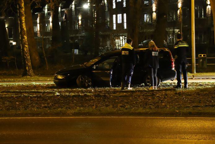 De auto kwam in de berm tot stilstand.