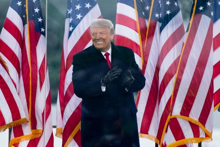 Donald Trump op 6 januari, de dag dat betogers het Capitool bestormden. Beeld EPA