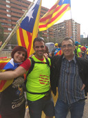 Silvia Torner en twee broers vorige week in Barcelona.