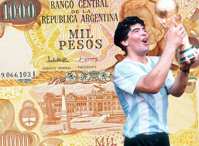 Diego Maradona verschijnt mogelijk in Argentinië op een 'briefje van 1000'.