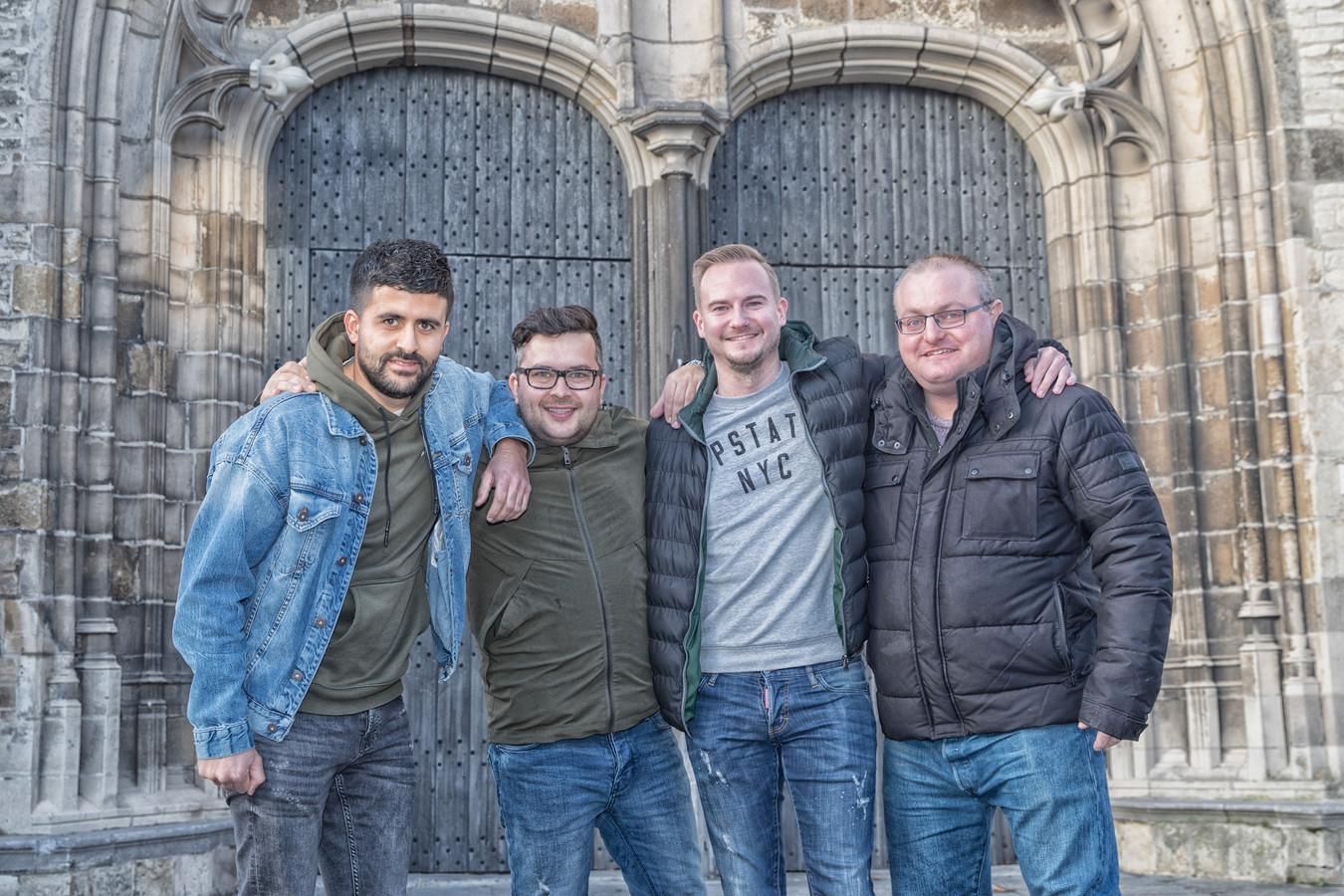 Sofyan Azzagari, Reza Geleedst, Robert Waverijn en Marc Blok houden hun 'Thank Goes-feest' deze keer niet in de kerk, maar in een botenloods.