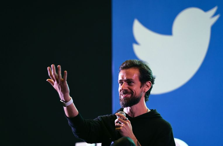 Jack Dorsey, stichter en topman van het sociaalnetwerkbedrijf Twitter. Beeld AFP
