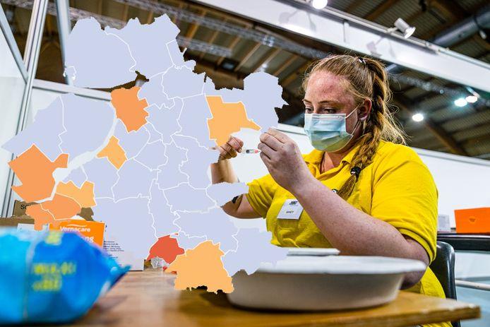 De coronakaart van Oost-Nederland van maandag 14 juni.