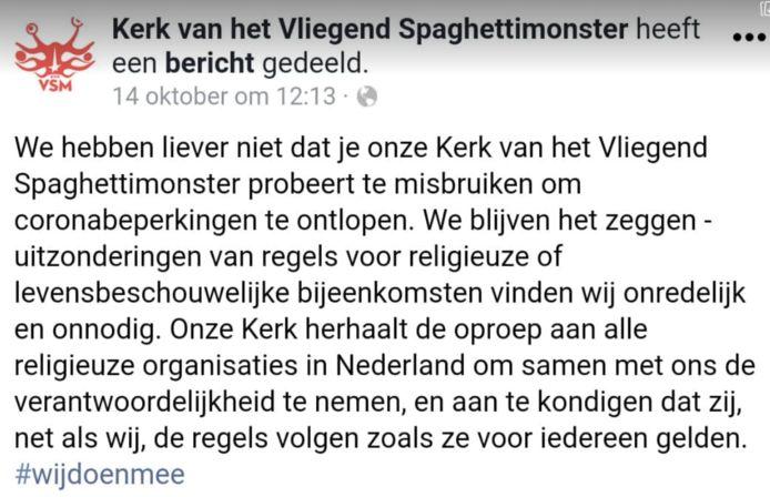 Een statement van de Kerk van het Vliegend Spaghettimonster om misbruik van hun status als geloofsgemeenschap te voorkomen.