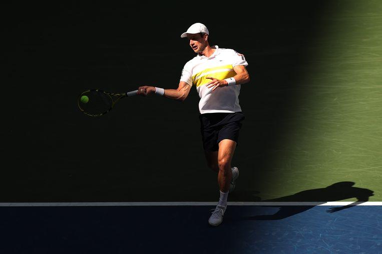 Botic van de Zandschulp tijdens zijn kwartfinalepartij op de US Open.  Beeld AFP