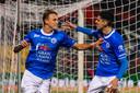 Beltrame schiet met scherp. De Italiaan maakt de 2-1 in duel met FC Eindhoven.