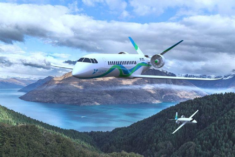 Een artist impressionv an de Zunum Aero, dat samen met Boeing aan elektrische vliegtuigen werkt.  Beeld Zunum Aero