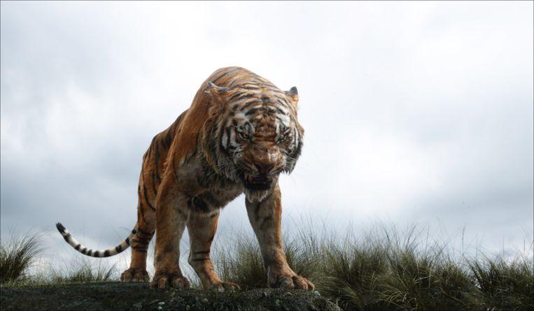 Een fotorealistische Shere Khan, de tijger uit 'The Jungle Book', in de nieuwste versie van Jon Favreau uit 2016. Beeld AP