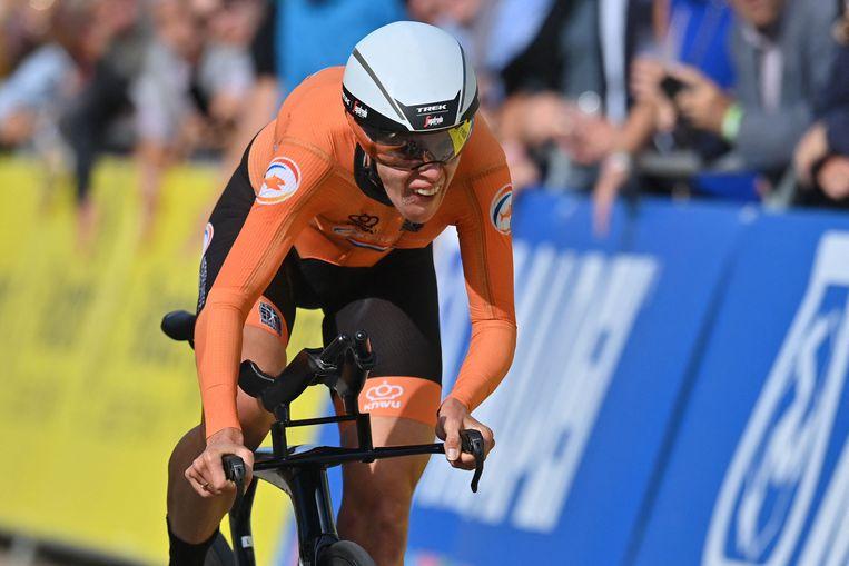 Ellen Van Dijk op het WK wielrennen in Brugge. Beeld AFP