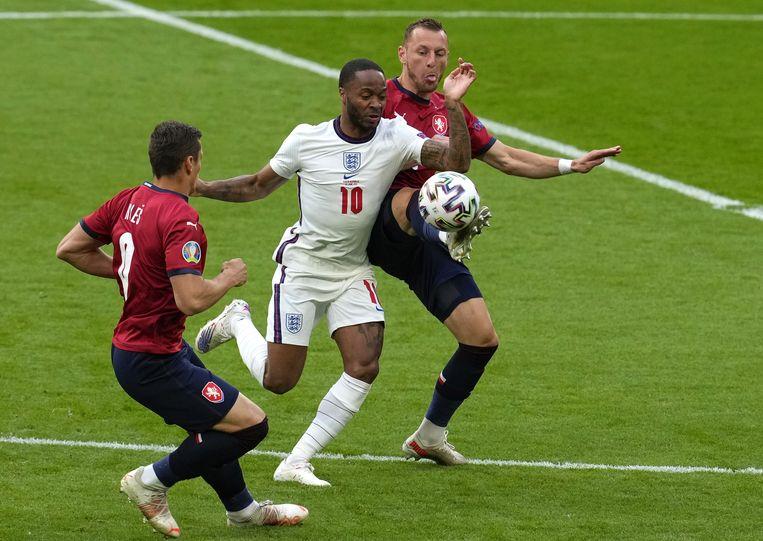 Engeland won in de groepsfase dankzij Raheem Sterling met 1-0 van de Tsjechen. Beeld EPA