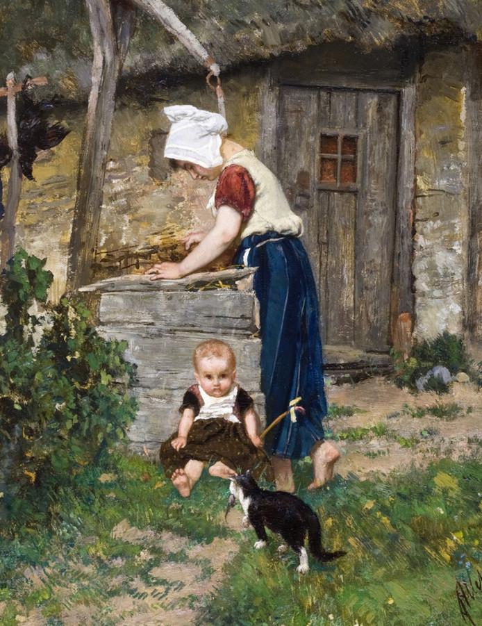 Het schilderij 'Boerenmeisje bij een waterput' van August Allebé is te zien op de tentoonstelling in Breda.