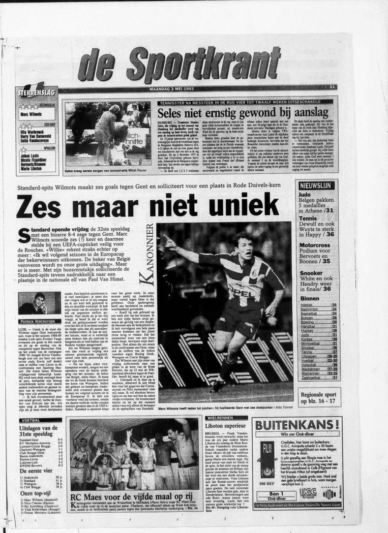 Verslag in Het Laatste Nieuws van de zesklapper van Wilmots in 1993 tegen AA Gent.