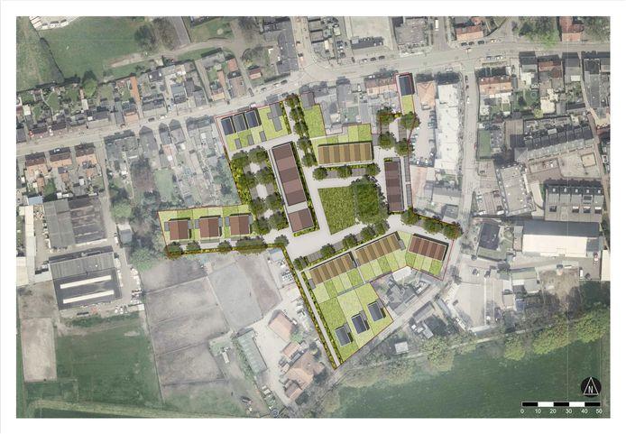 Stedenbouwkundig ontwerp voor het voormalig terrein van de schoenfabrieken Van Lier en Van Esch.