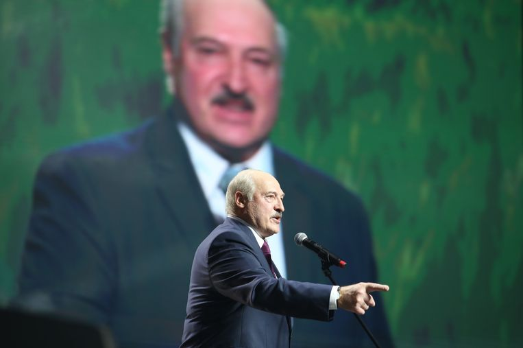 Loekasjenko speecht in Minsk. Beeld AFP