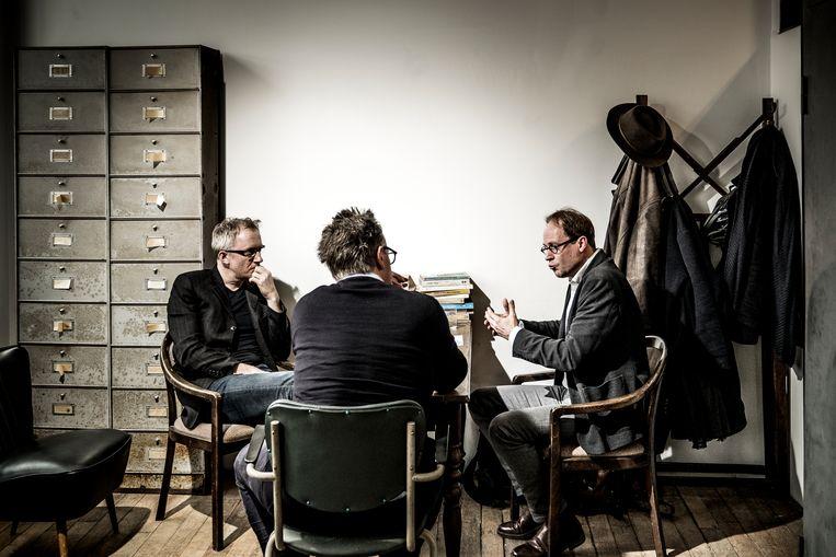 David Van Reybrouck (l.) en Patrick Loobuyck (r.). Beeld Diego Franssens