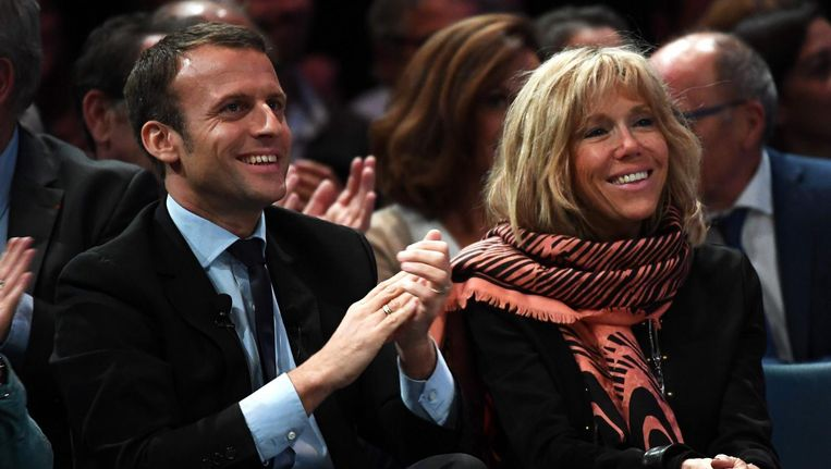 Emmanuel Macron en zijn vrouw Brigitte Trogneux. Beeld afp