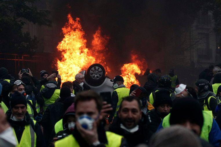 Vorige zaterdag liepen de rellen in Parijs uit de hand.  Beeld EPA