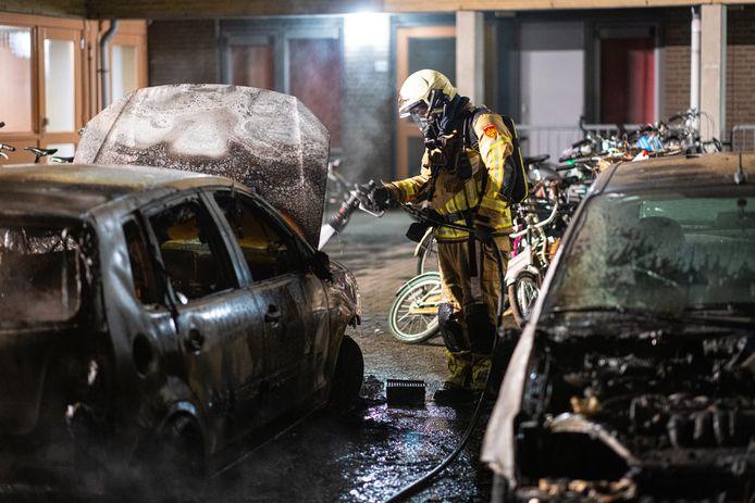 Autobrand aan de Staatssecretarislaan in Zwolle.
