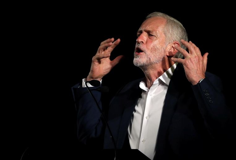 Jeremy Corbyn sprak in augustus tijdens een Labour-bijeenkomst in het Schotse Glasgow Beeld null