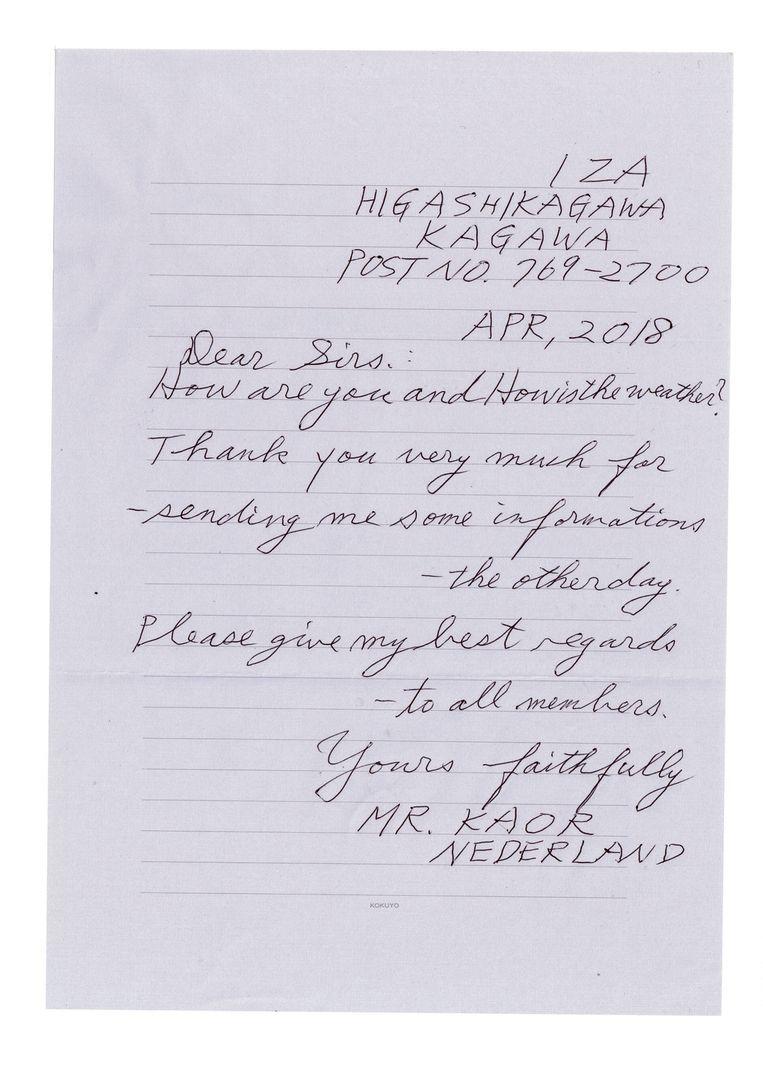 De brief: elke keer weer – ongeveer – dezelfde tekst. Beeld Sanne Zurné