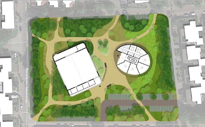De nieuwe sporthal en het woongebouw op het terrein van de Margriethal en het voormalige zwembad Tropical in Rijen komen in een parkomgeving te liggen.