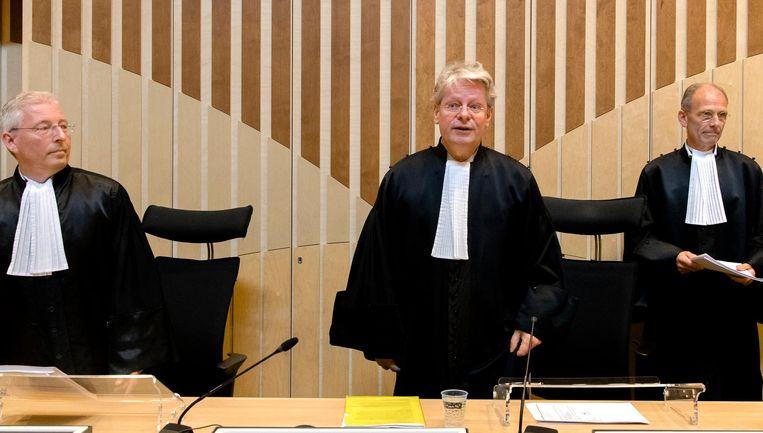 Rechters doen uitspraak in het Passageproces. Beeld anp