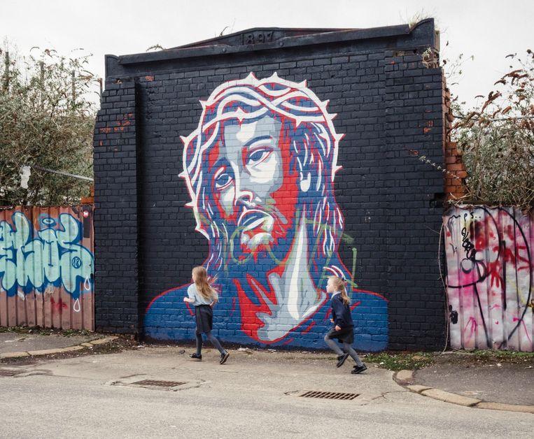 Muurschildering in een unionistisch deel van Belfast. Noord-Ierland heeft een lange bloedige strijd achter de rug tussen pro-Britse unionisten en pro-Ierse nationalisten.  Beeld Carlotta Cardana