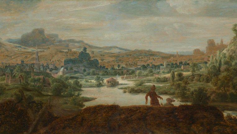 Rivierlandschap met figuren, paneel, 45.5 x 88.5 cm, ca. 1625-30. Beeld privé-collectie