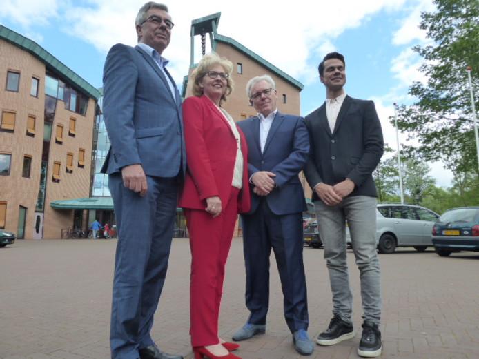 De wethoudersploeg van Sint-Michielsgestel: Ed Mathijssen, Lianne van der Aa, Bart van de Hulsbeek en Peter Raaijmakers.