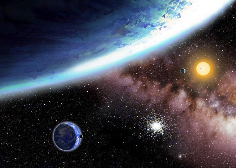 Een impressie van de nieuw ontdekte planeten Kepler-62 e en f. Beeld ap