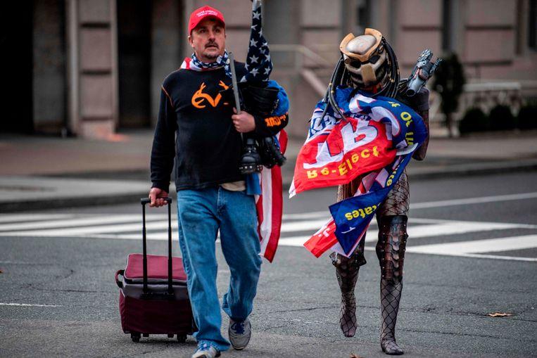 Aanhangers van Trump op straat in Washington DC. Beeld AFP