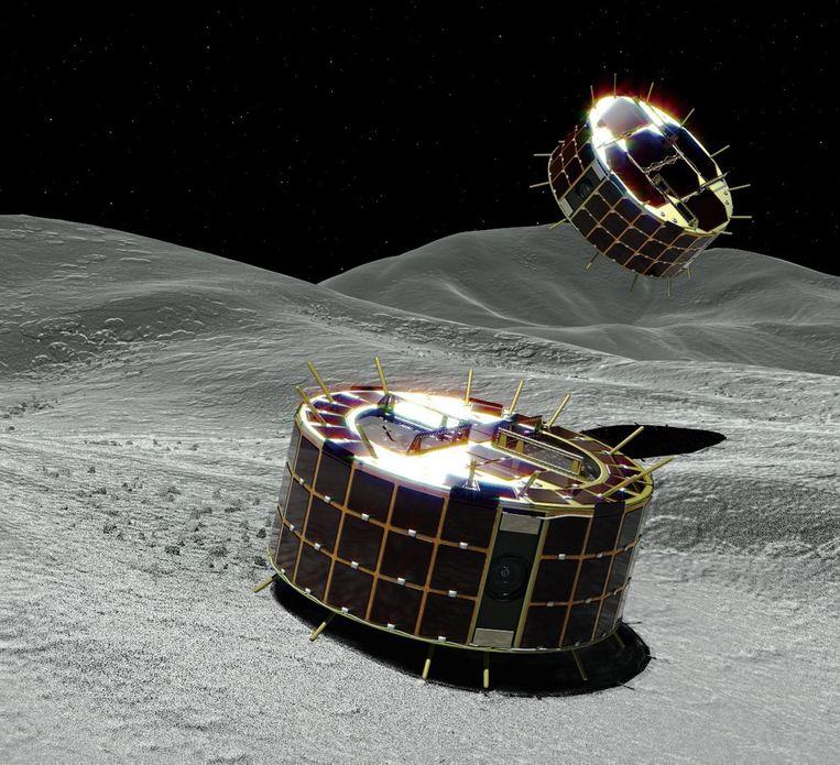 Zo zouden de landertjes eruit zien op het oppervlak van de planetoïde. Beeld EPA