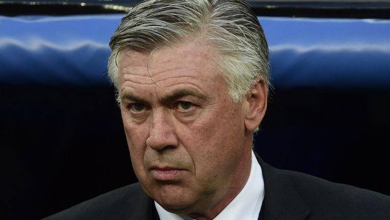 De Italiaanse coach Ancelotti betaalt het gelag voor een seizoen waarin Real Madrid geen enkele prijs in de wacht sleepte. Beeld AFP
