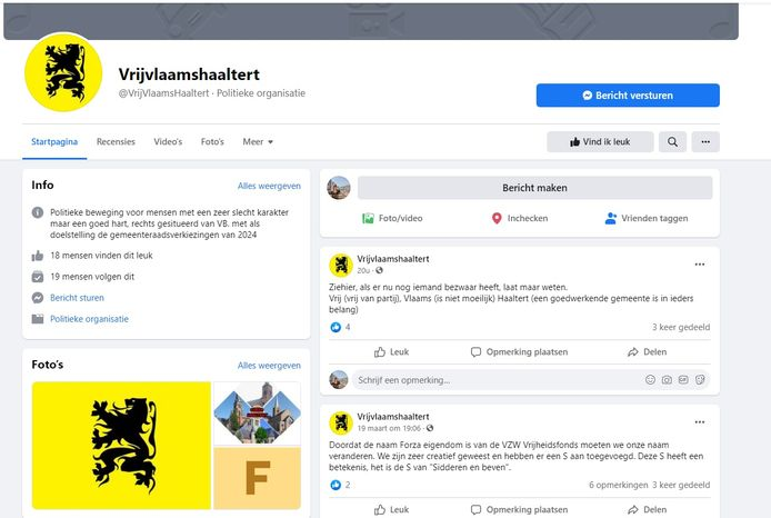 De Facebookpagina van de nieuwe politieke beweging Vrij Vlaams Haaltert.