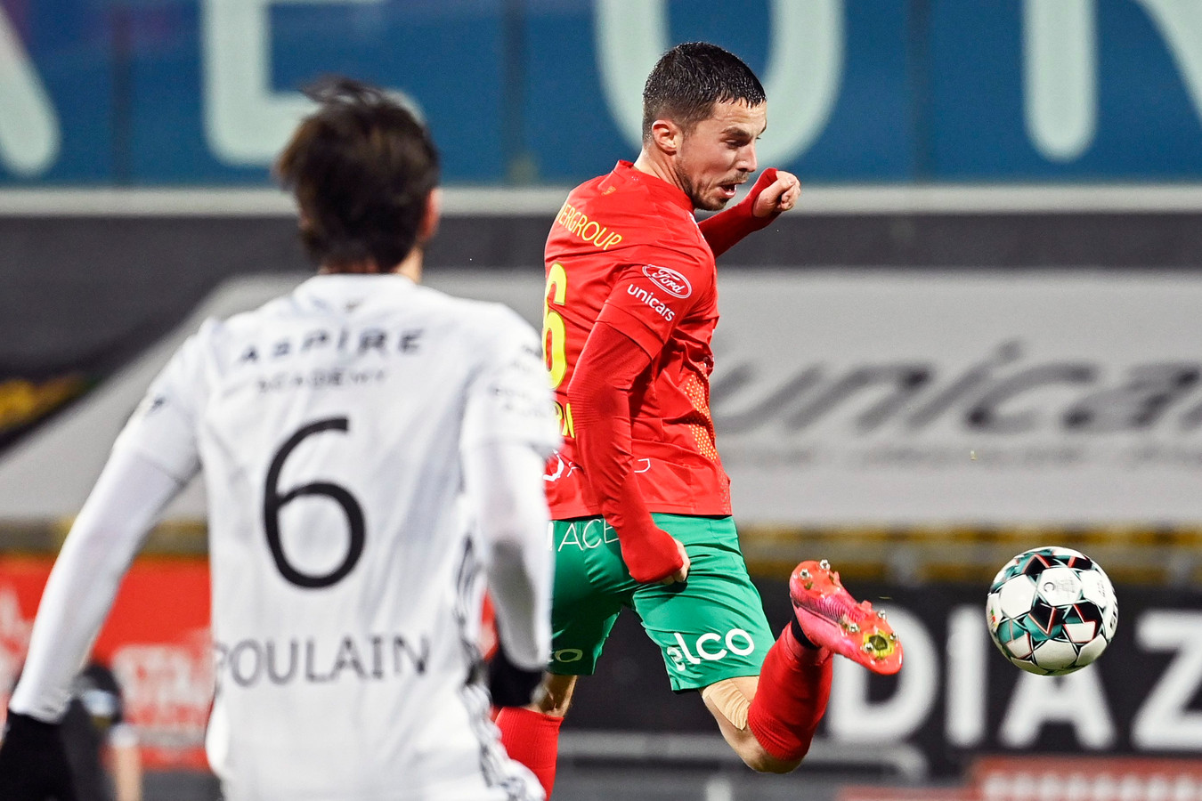 Maxime D'Arpino, hier in actie tegen Eupen, wil het puntenverlies van eerder deze week rechtzetten tegen KV Kortrijk.