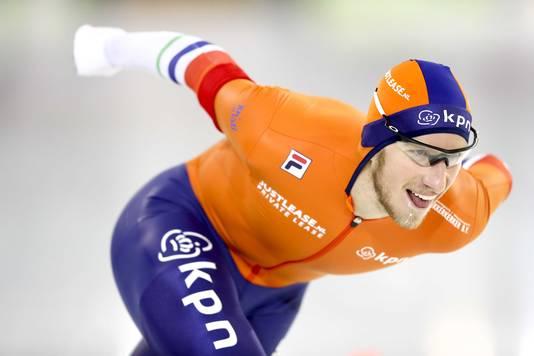 Jan Blokhuijsen tijdens de 5000 meter.