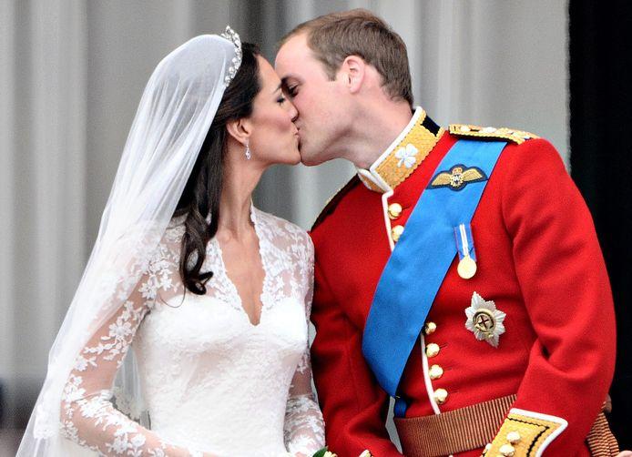 William en Kate op hun trouwdag.