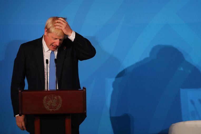Boris Johnson op de Klimaattop in New York gisteren. De Britse premier leed op het thuisfront een nieuwe nederlaag. Beeld AFP
