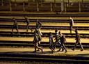 Migranten die Engeland proberen te bereiken via de kanaaltunnel.
