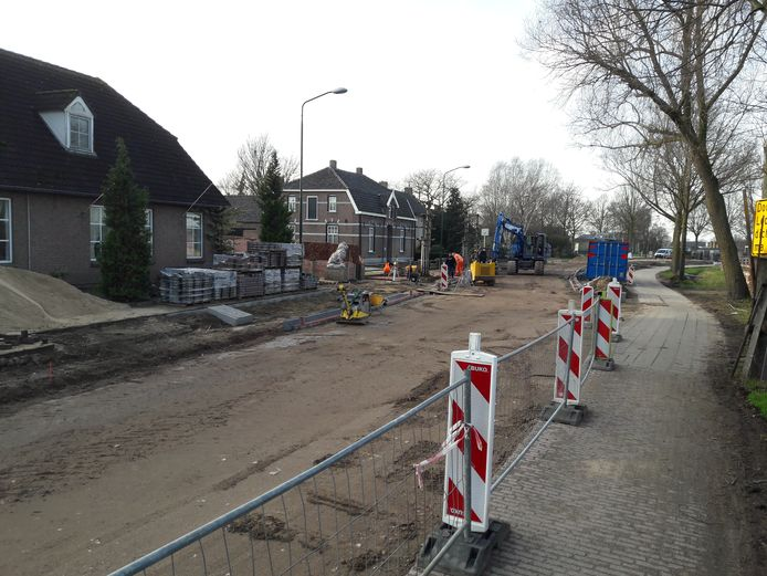 Werk aan de N602 in Ledeacker. Eind januari 2019.
