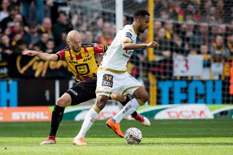Een willekeurig actiebeeld uit de match KV Mechelen - Waasland-Beveren. Beeld BELGA