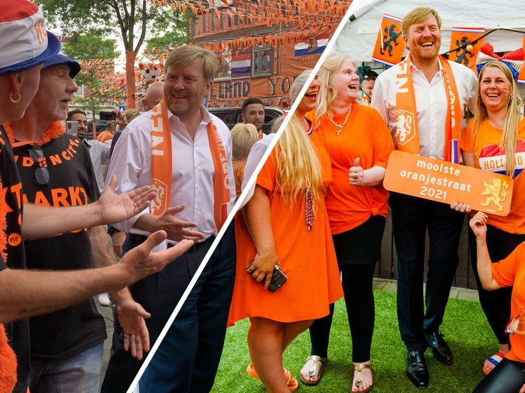 Koning Willem-Alexander bezoekt oranjestraat: 'Saamhorigheid, dat is waar oranje voor staat'