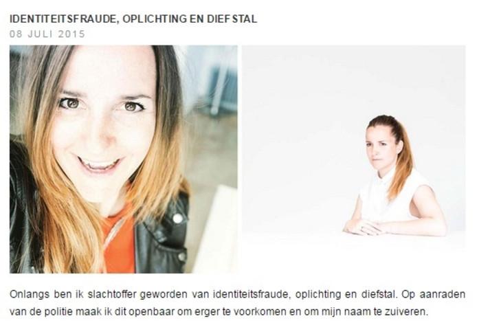 Annabel Jeuring met een bericht over identiteitsfraude op haar website