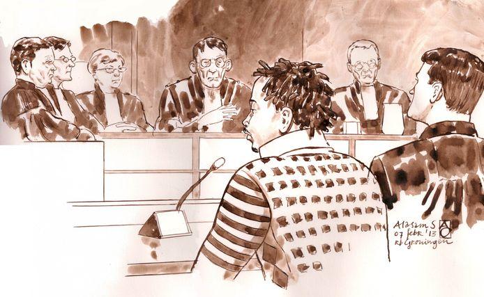 Alasam S. tijdens zijn rechtszaak.
